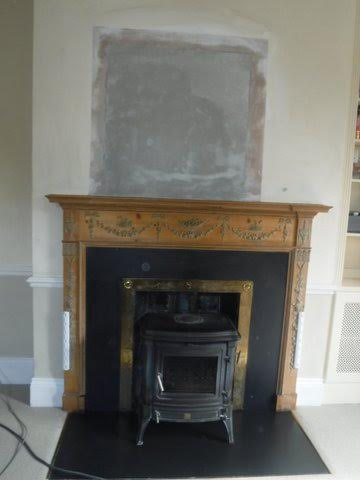 Chimney breast made ready for decoration