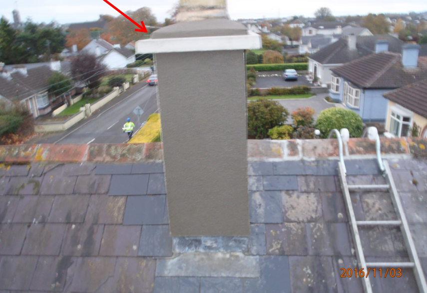 Completed stack rendered and flashed with new slates used where necessary.