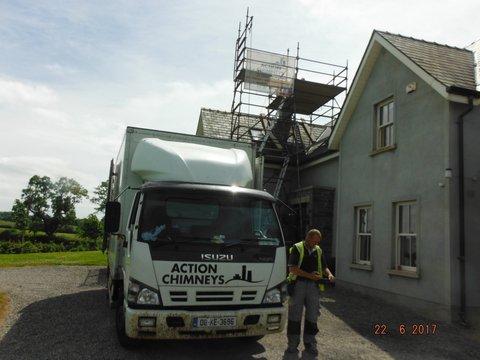 Scaffolding erected