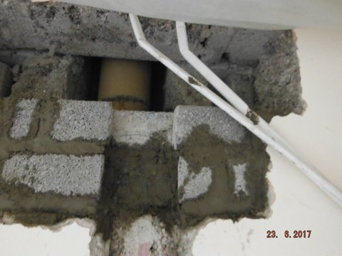 Ducting track formed in block work prior to rendering.