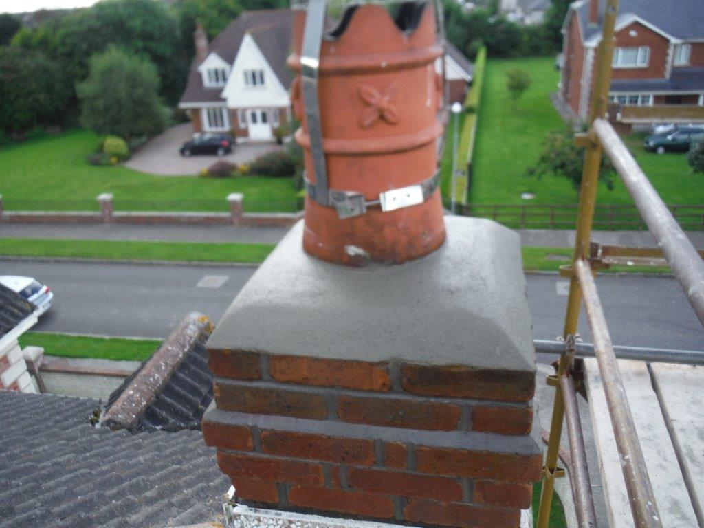 Newly installed chimney crown