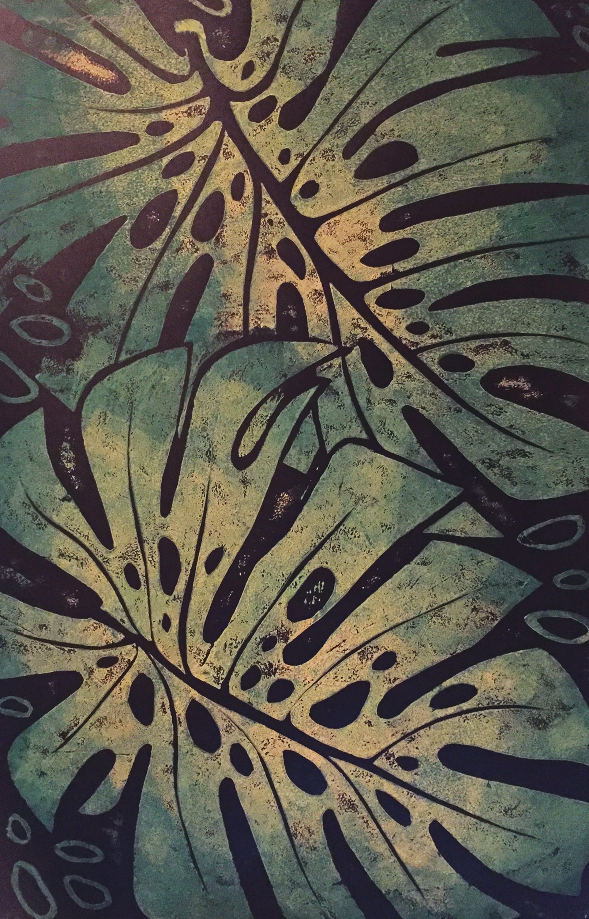 Monstera - Hand Rubbed Collograph