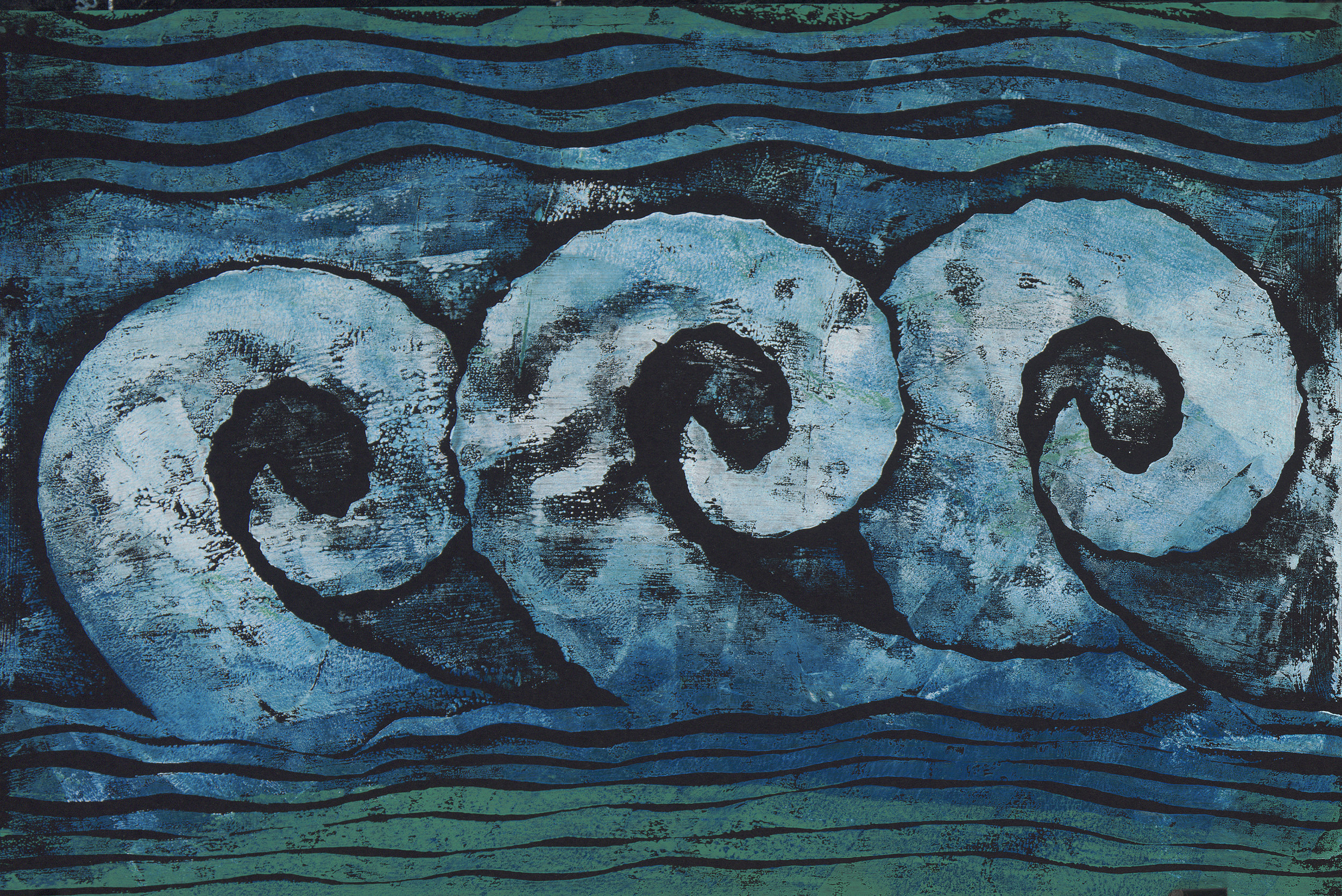 Waves in the Wind - Hand Rubbed Collograph