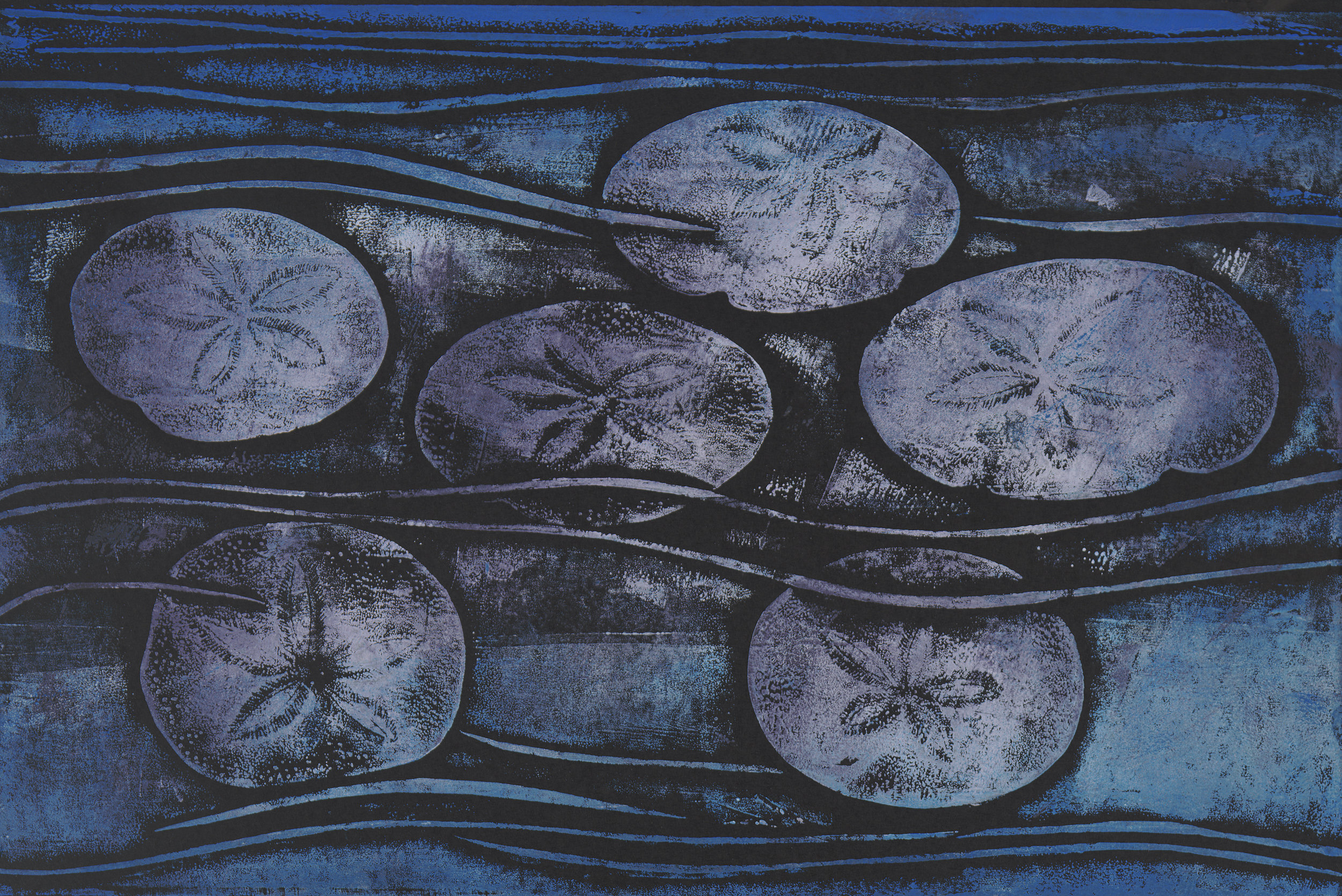 Shore Sand Dollars - Hand Rubbed Collograph
