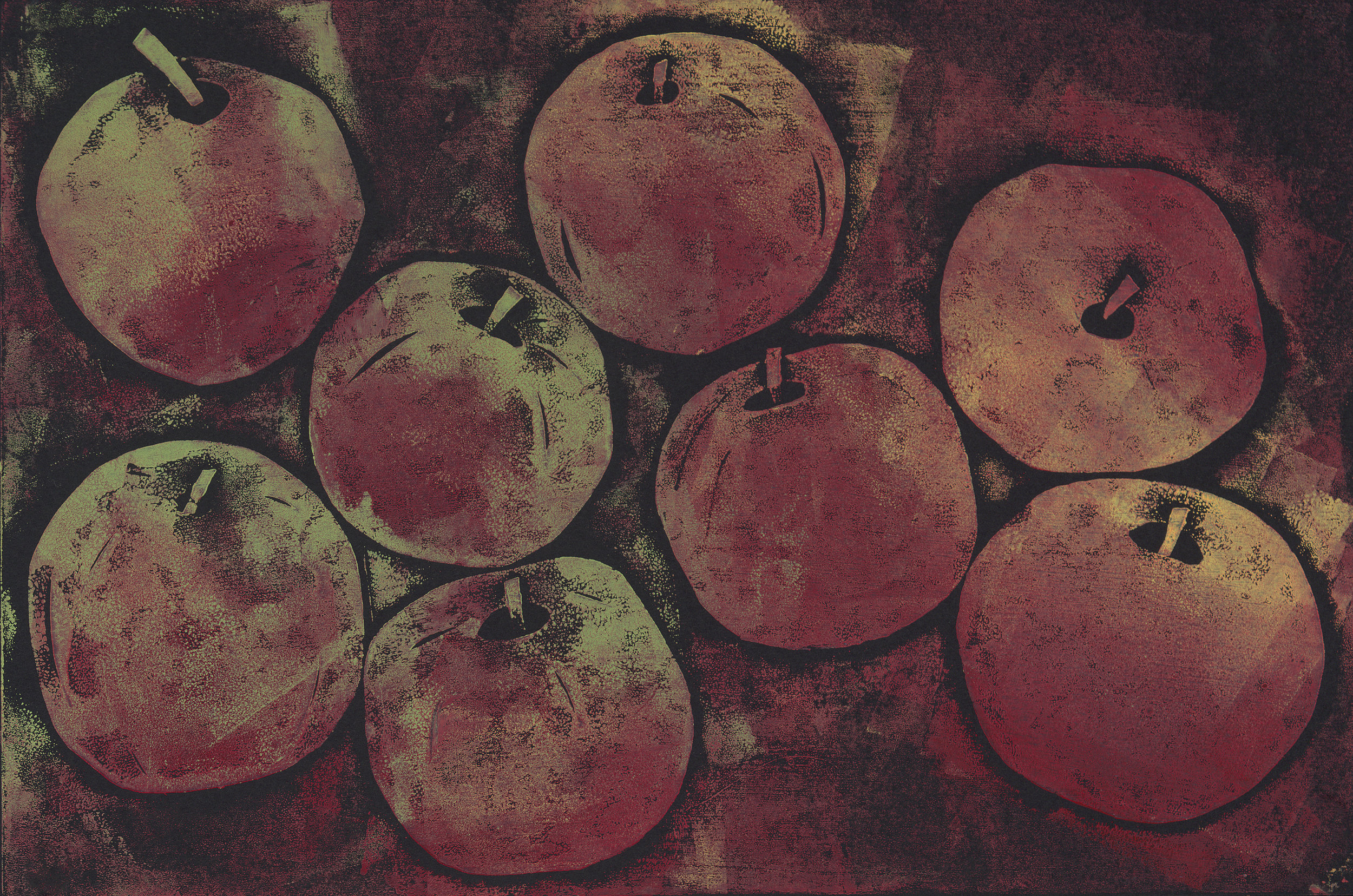 Apple Season - Hand Rubbed Collograph