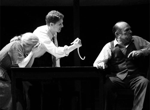 Amy Van Nostrand, Zach Appelman, & Stuart Margolin in Death of a Salesman