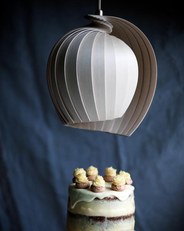coffee pumpkin cake with kovac lamp above