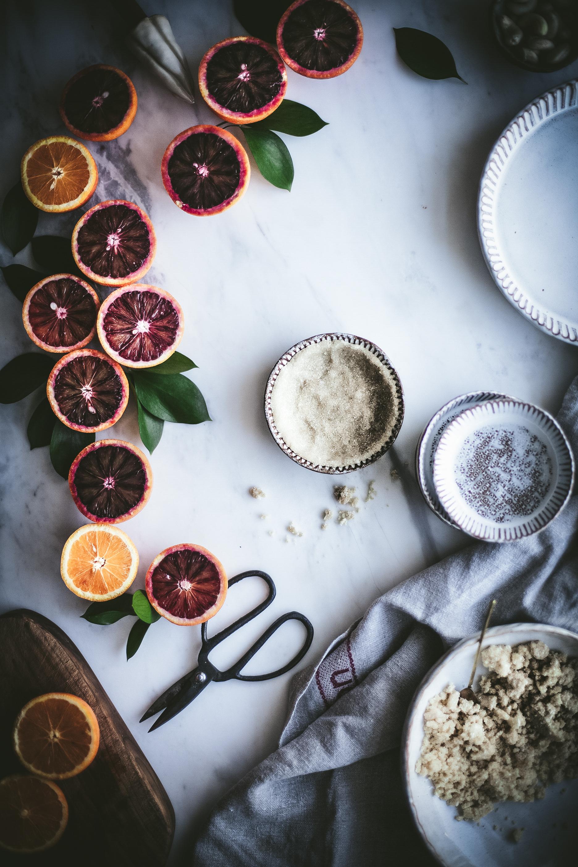 vegan paleo tarts with blood oranges cream