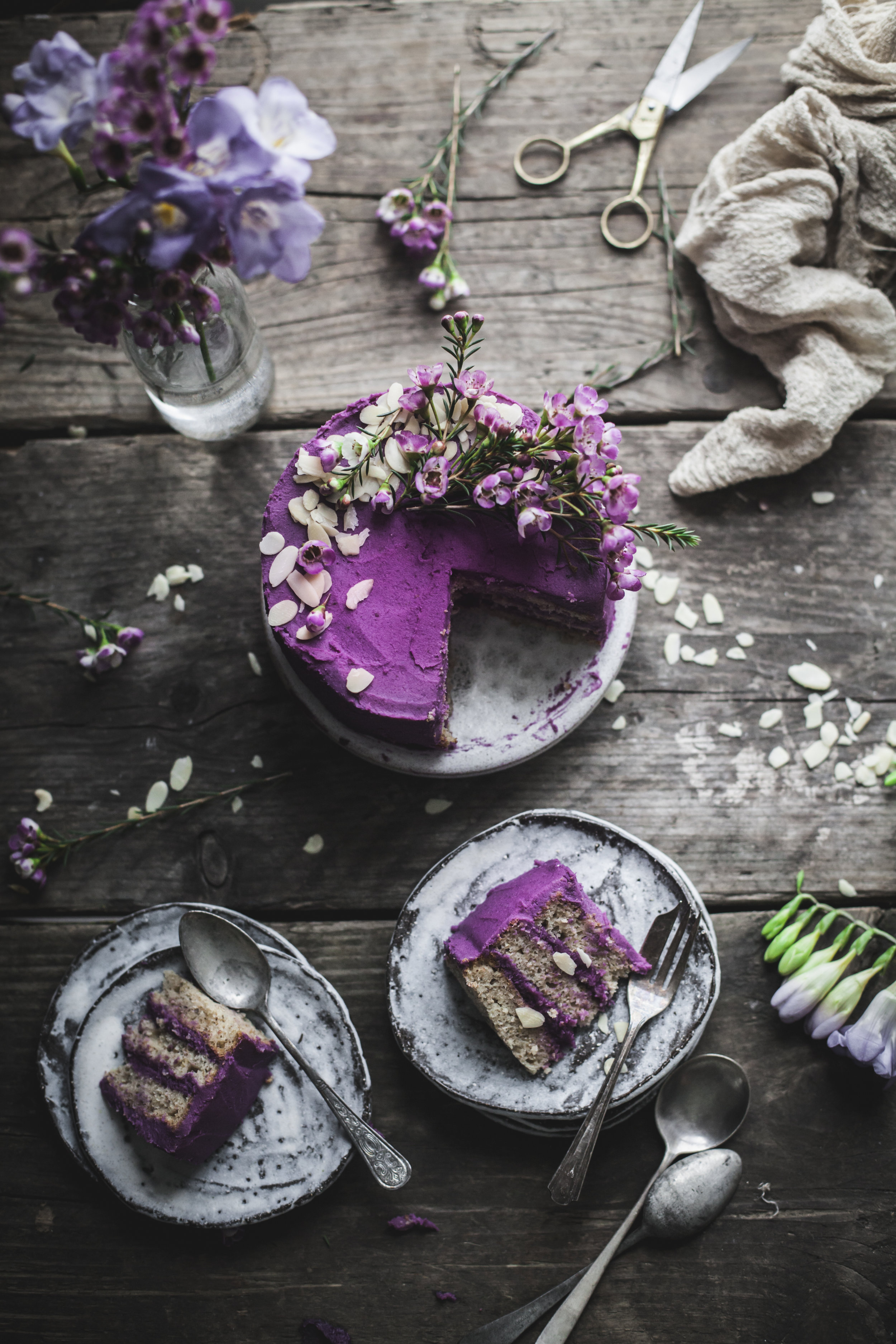 earl grey lemon cake with purple potatoes and white chocolate frosting