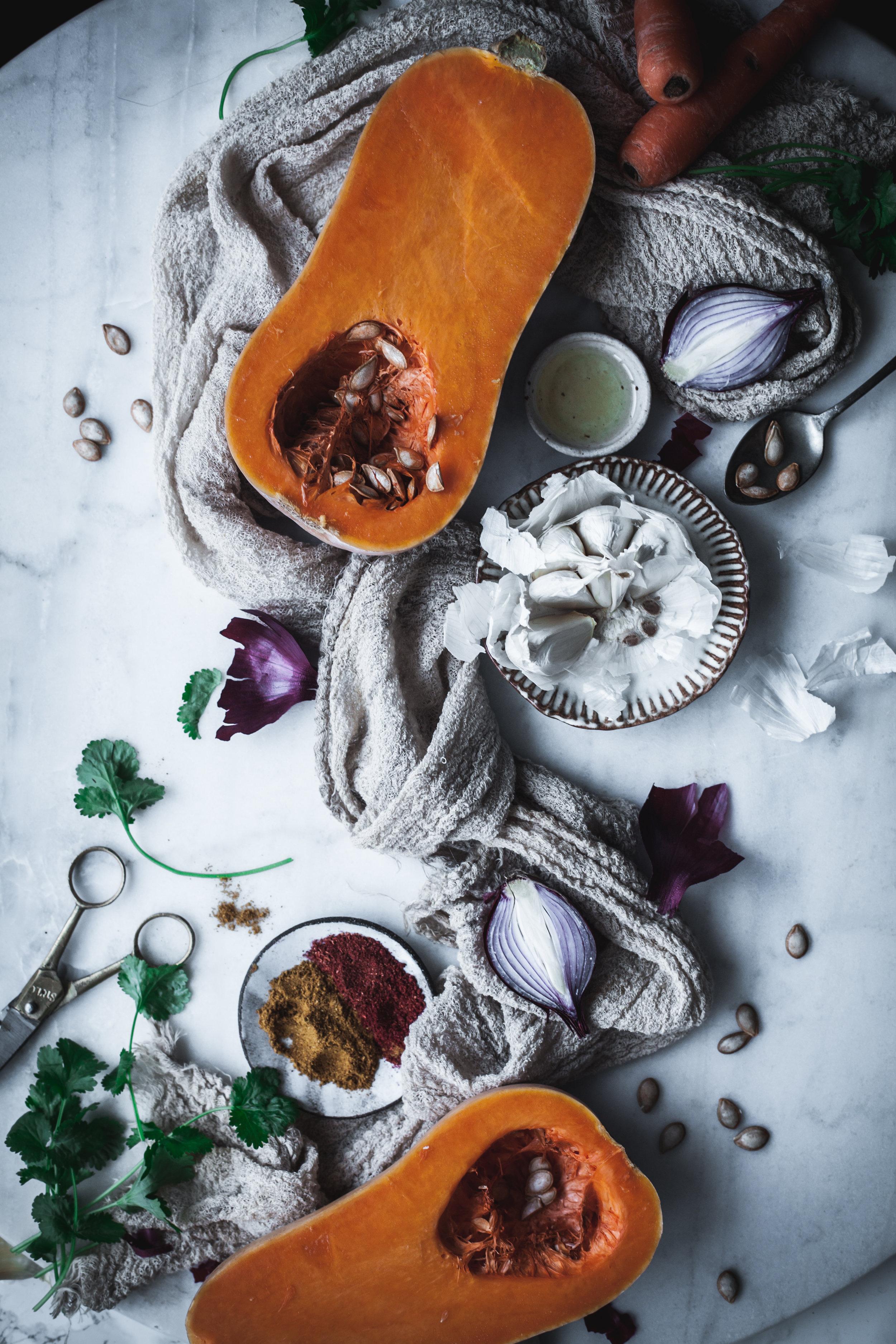 pumpkin and coriander soup ingredients