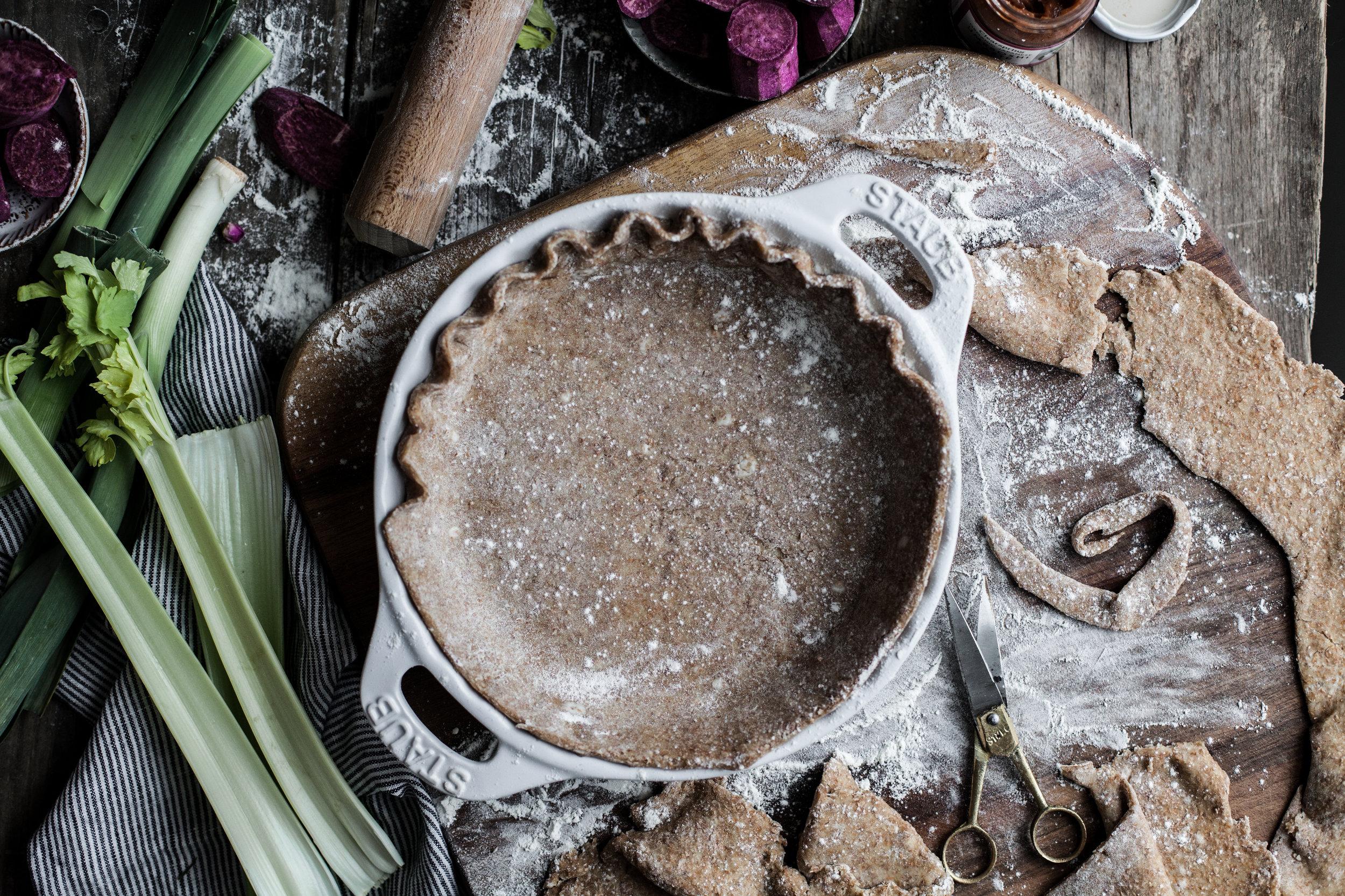 leek pie with rustic crust