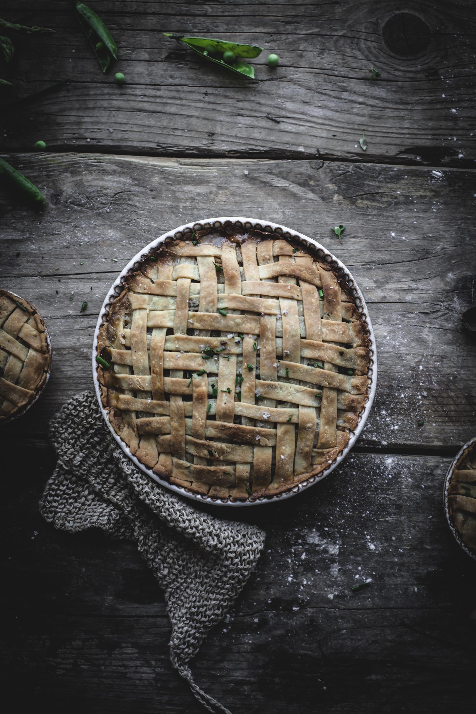 vegetable vegan pie with lattice