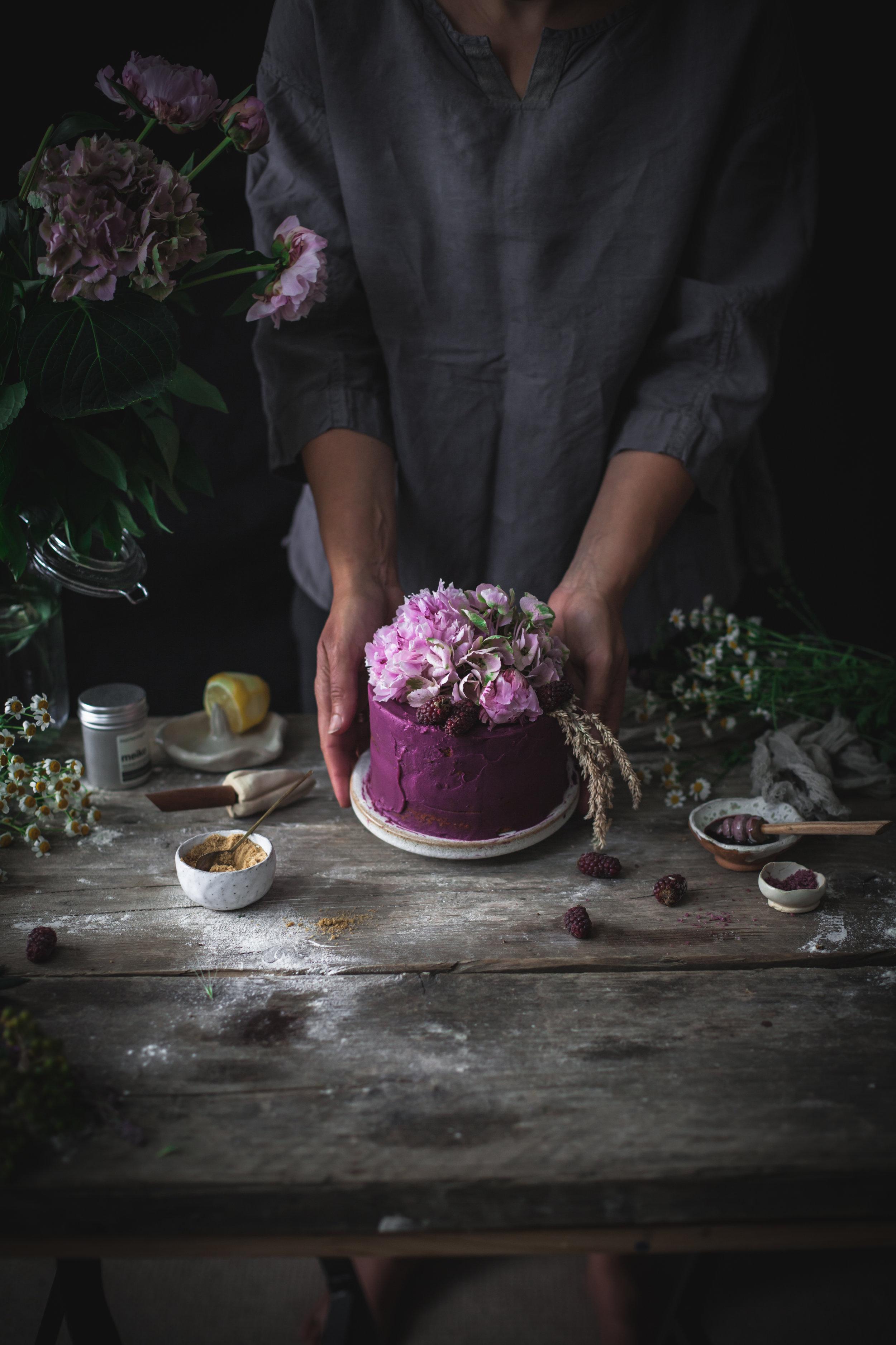 purple potates and white chocolate vegan cake