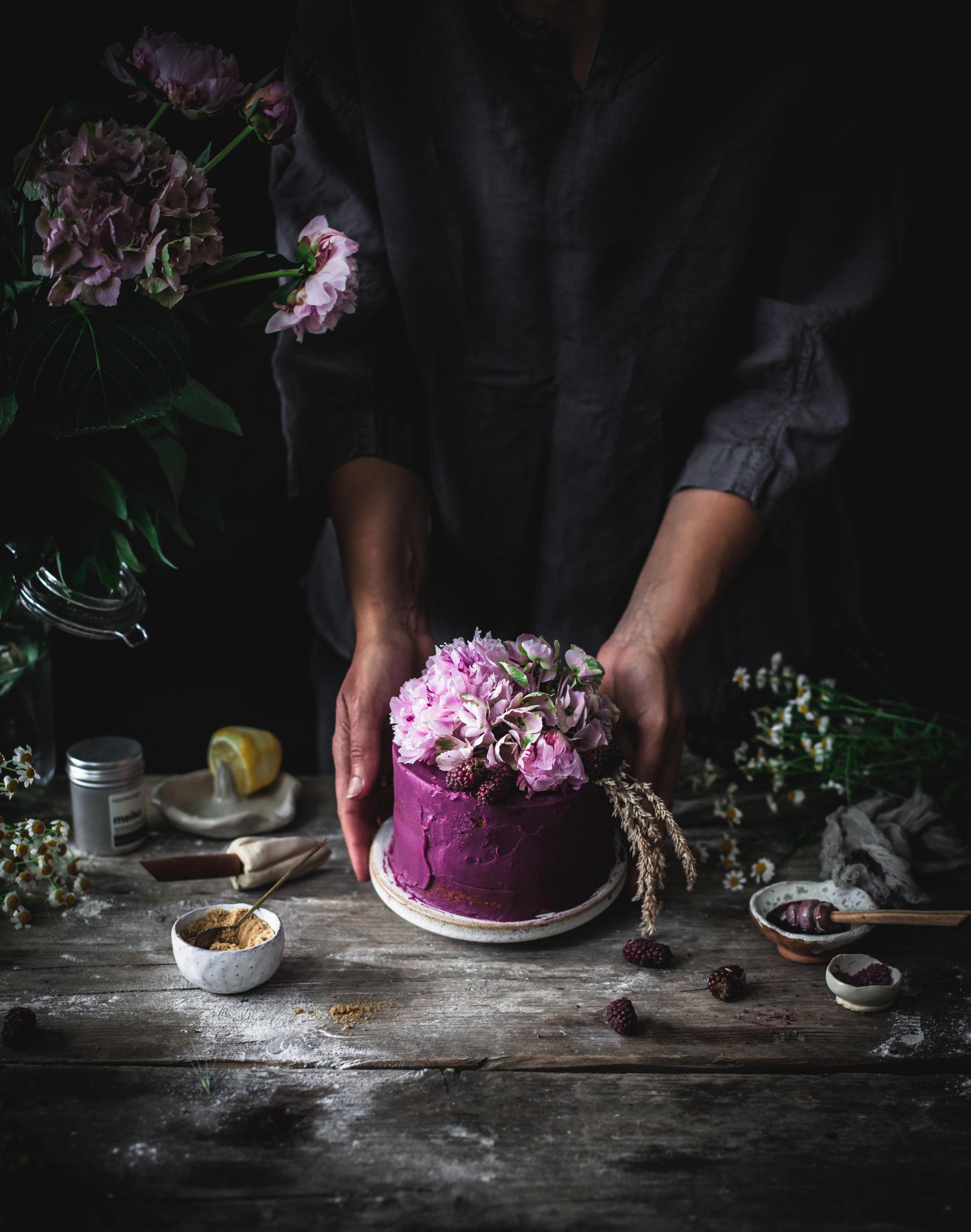 purple potatoes and white chocolate vegan cake