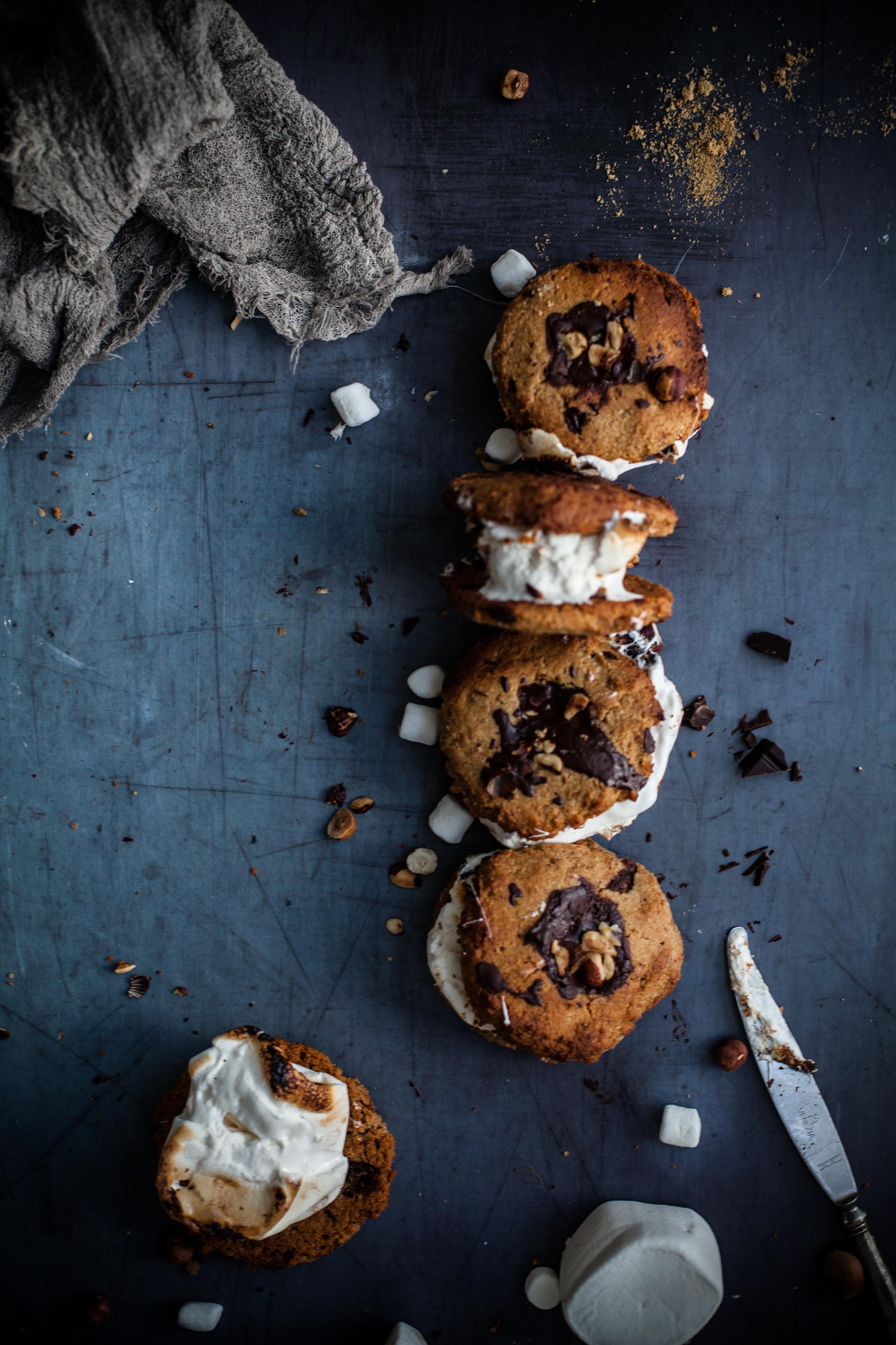 gooey choco chip cookies s'mores #glutenfree #vegan