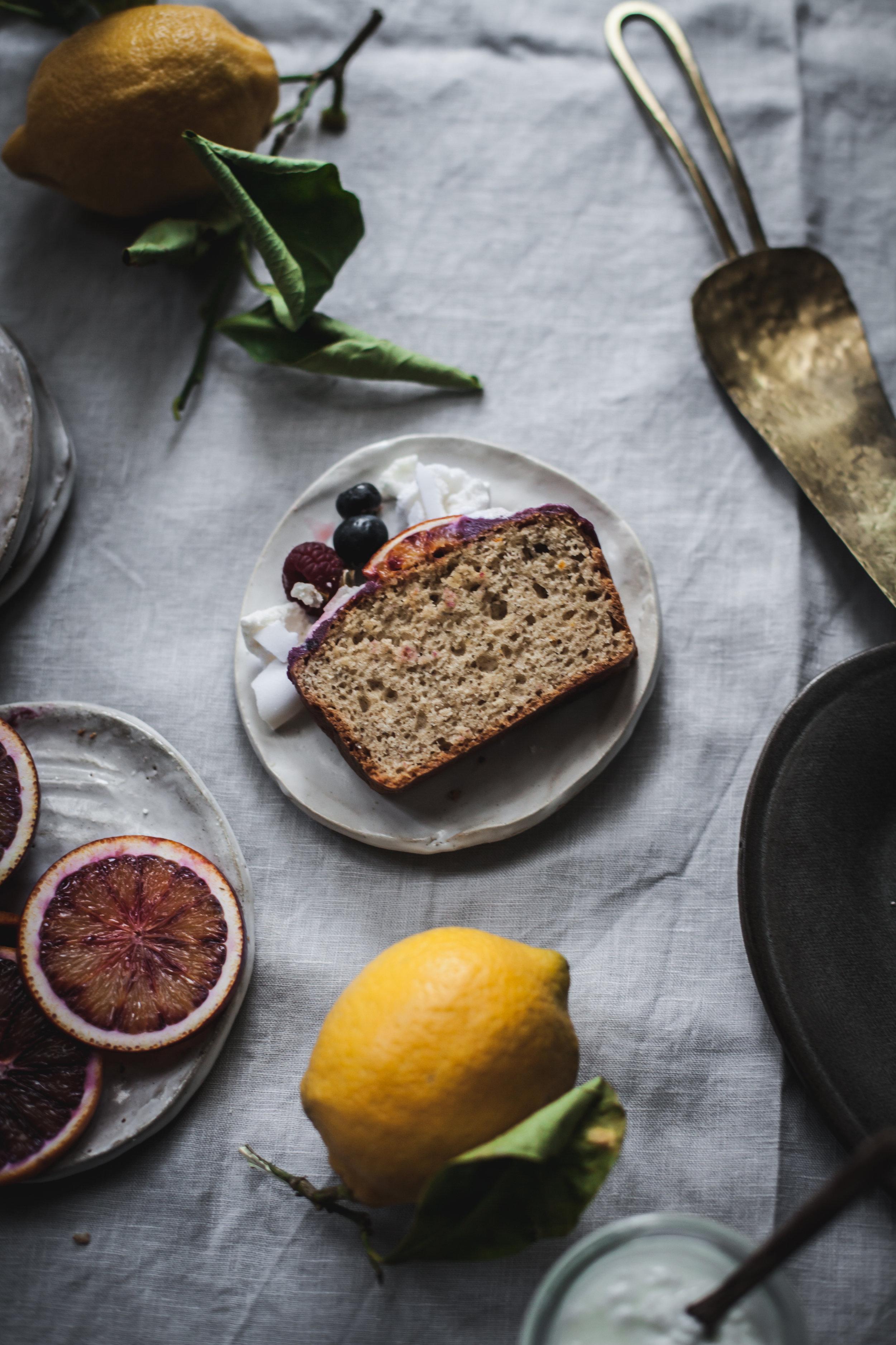 Lemon olive oil loaf cake with vegan Eton Mess