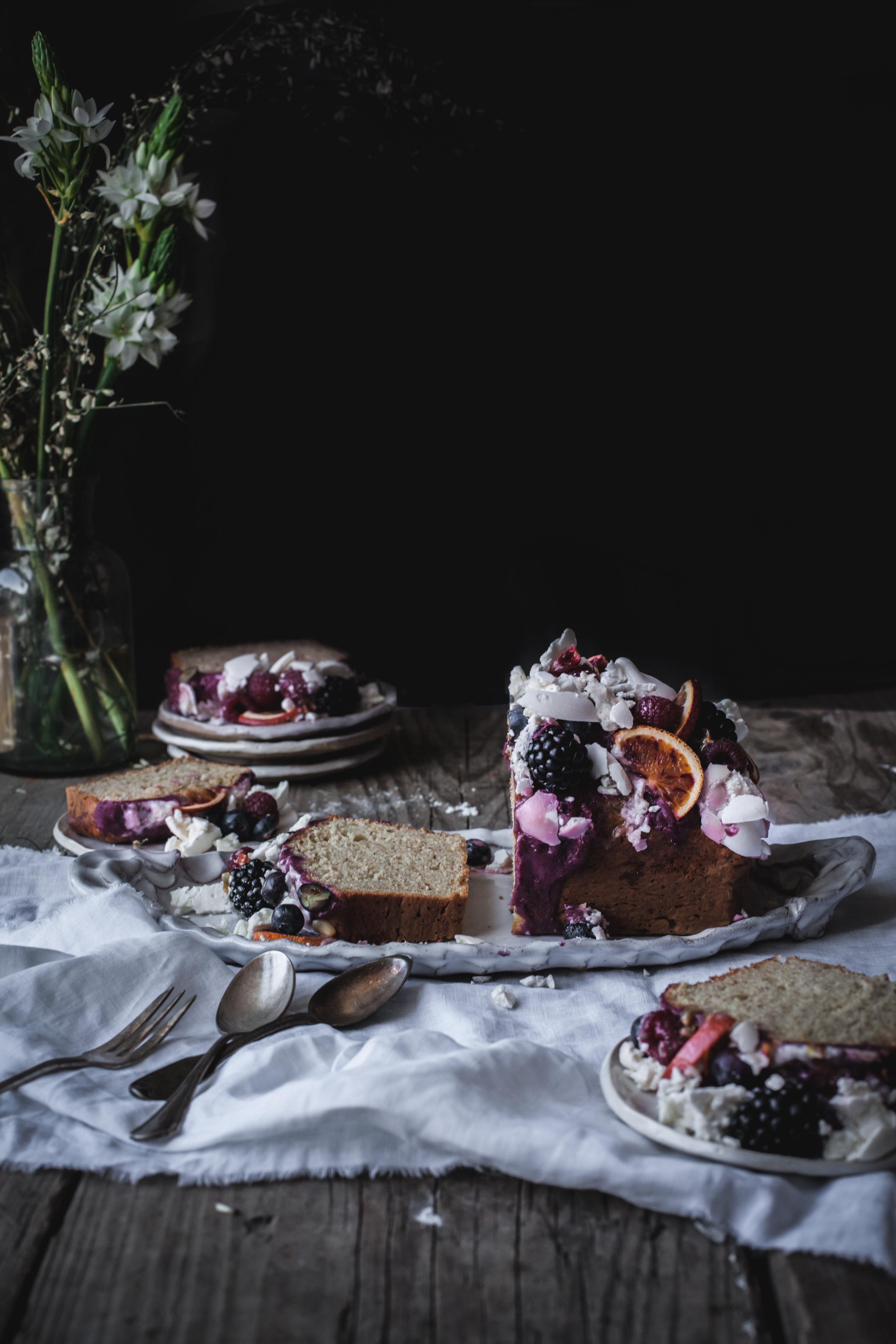 lemon olive oil loaf cake with eton mess