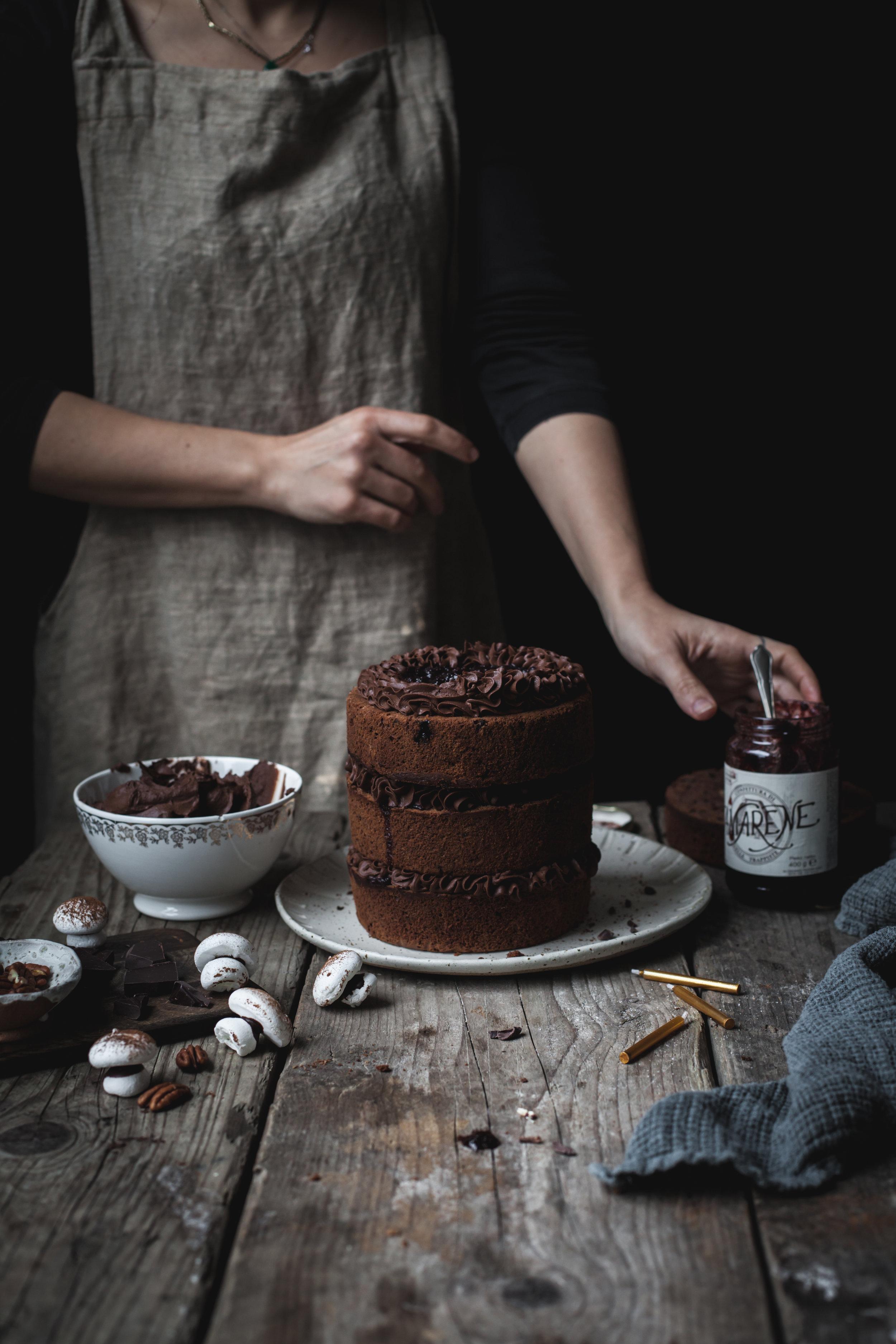 Sour Cherries Triple Chocolate Cake