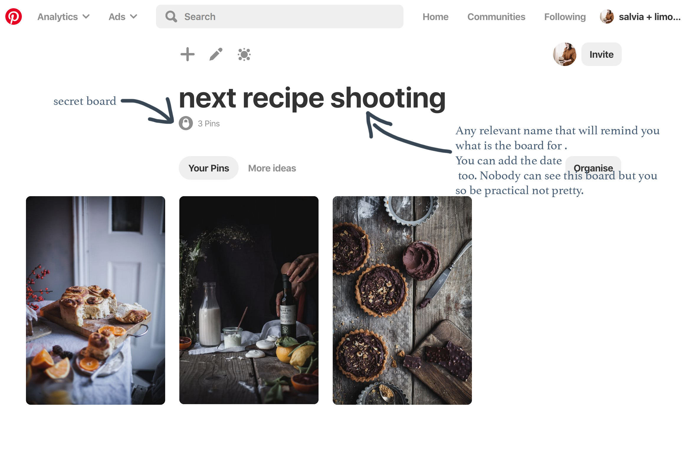 how to make a secret boardto plan your instagram shootings