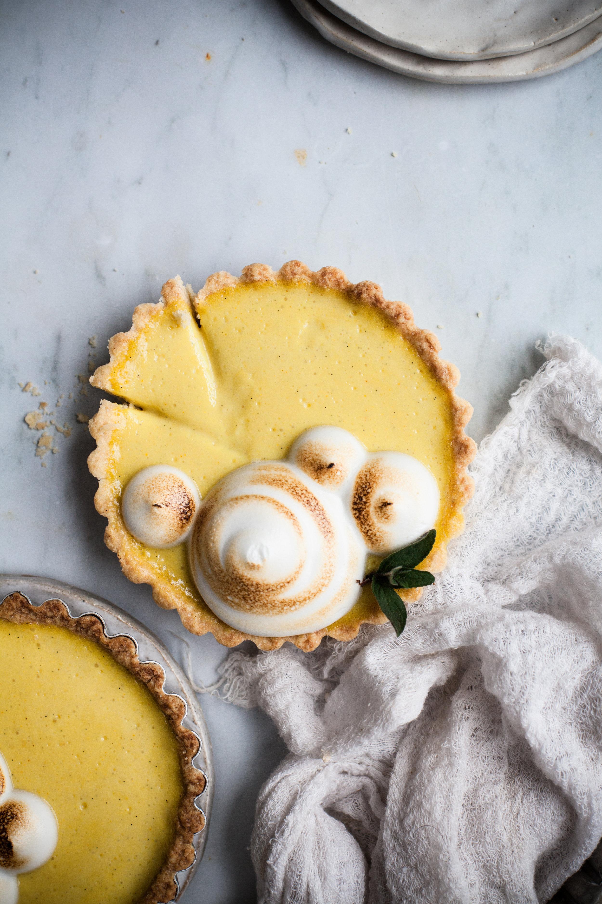 Mini Vegan Lemon Tarts with Toasted Aquafaba Meringue