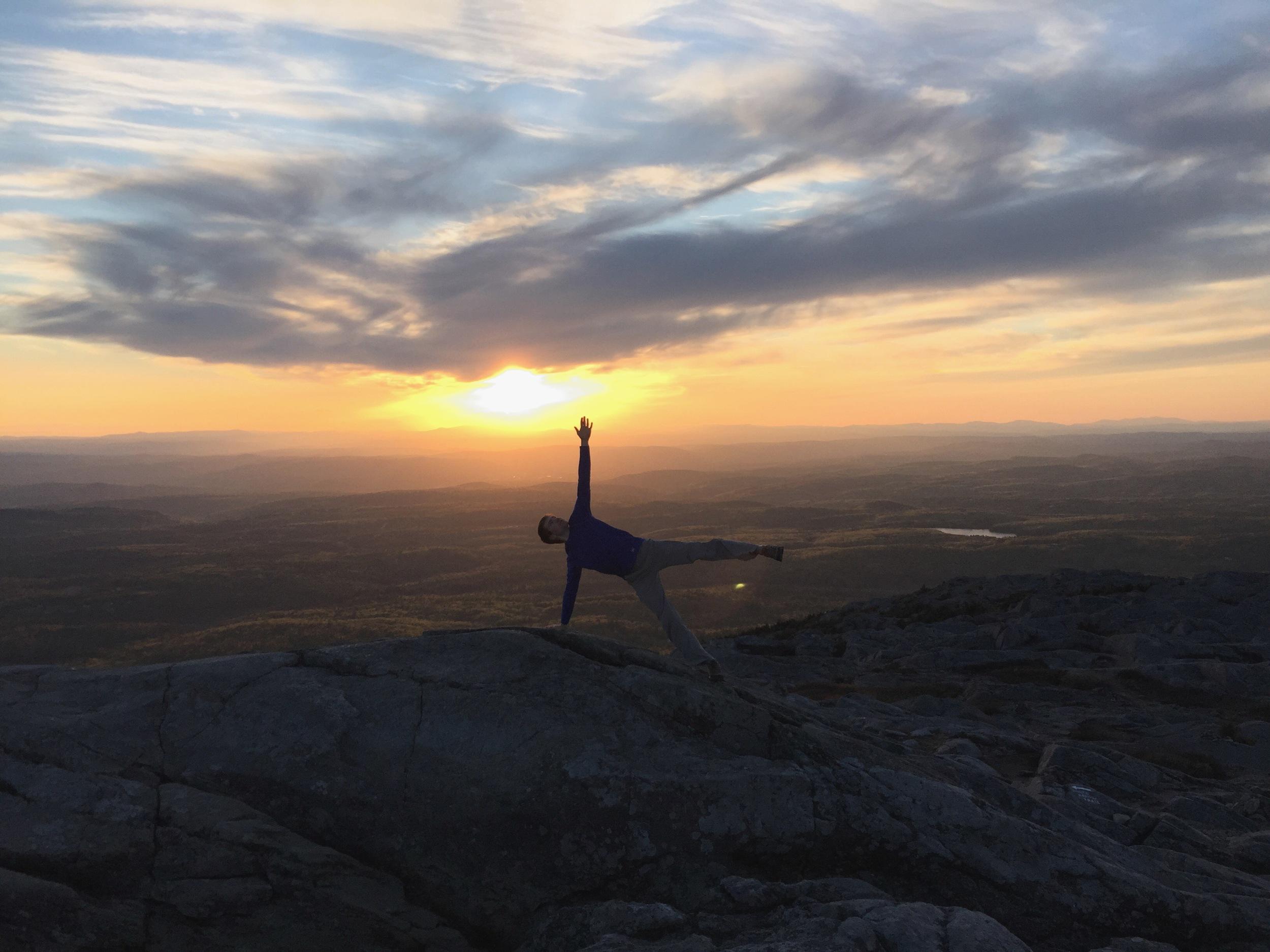 Side Plank Vasisthasana Yoga Posture on Mount Monadnock