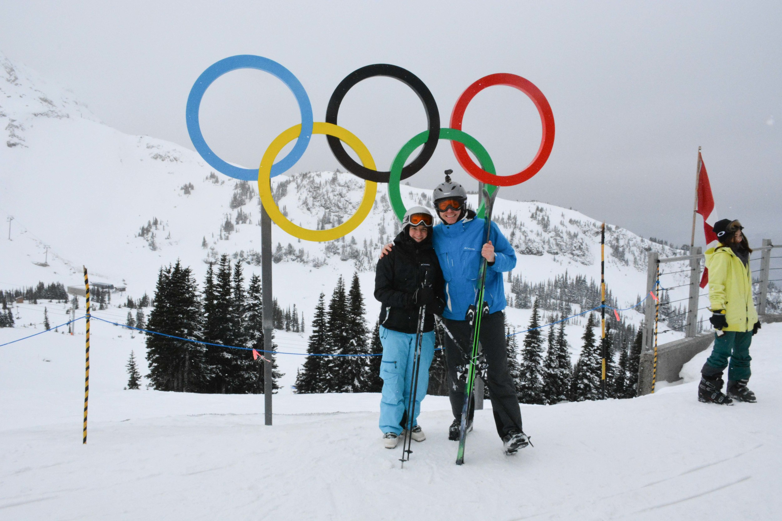 Anton and Larisa with Olympic Rings in Whistler
