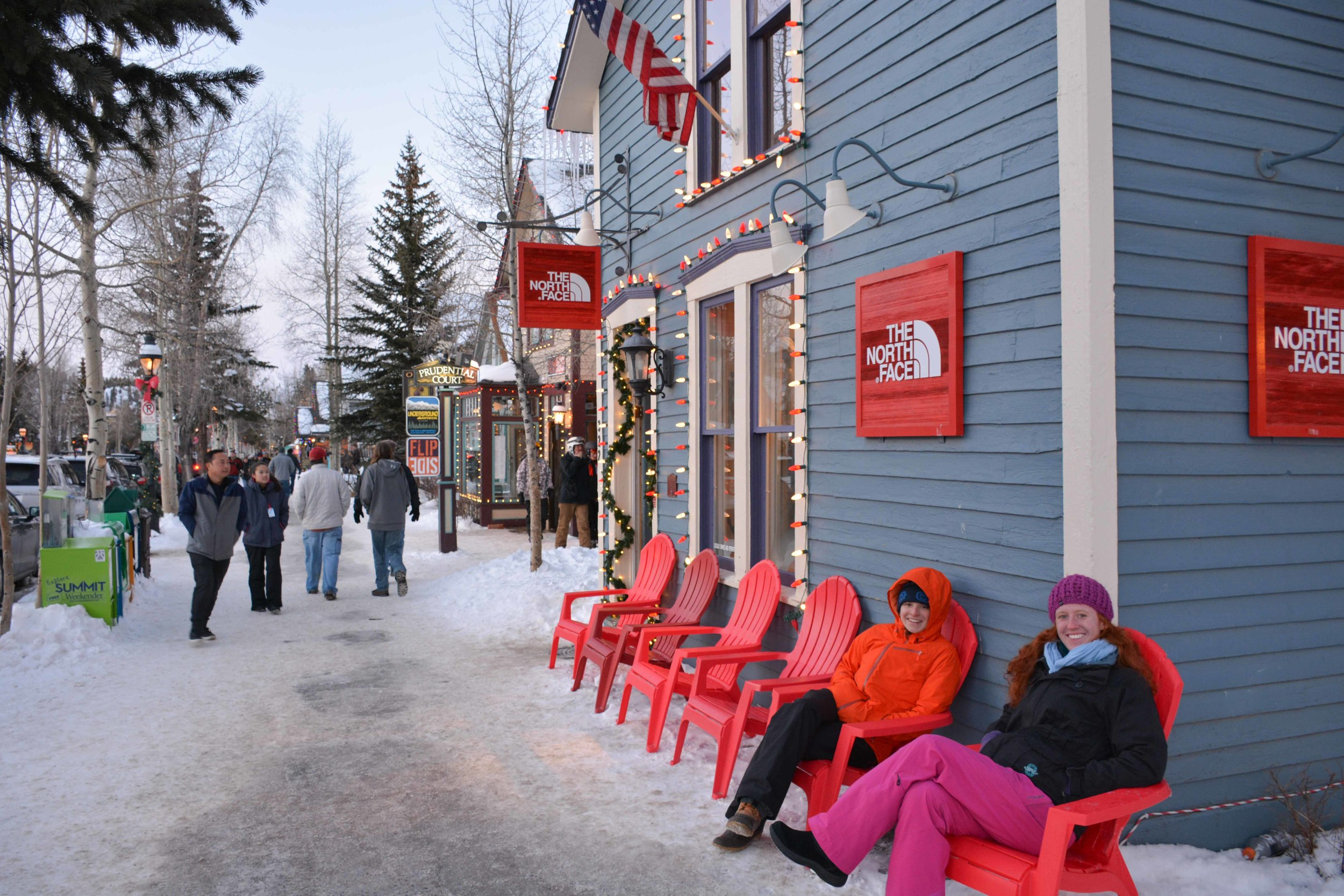 Larisa and Lizzy lounging on Main Street Breckenridge