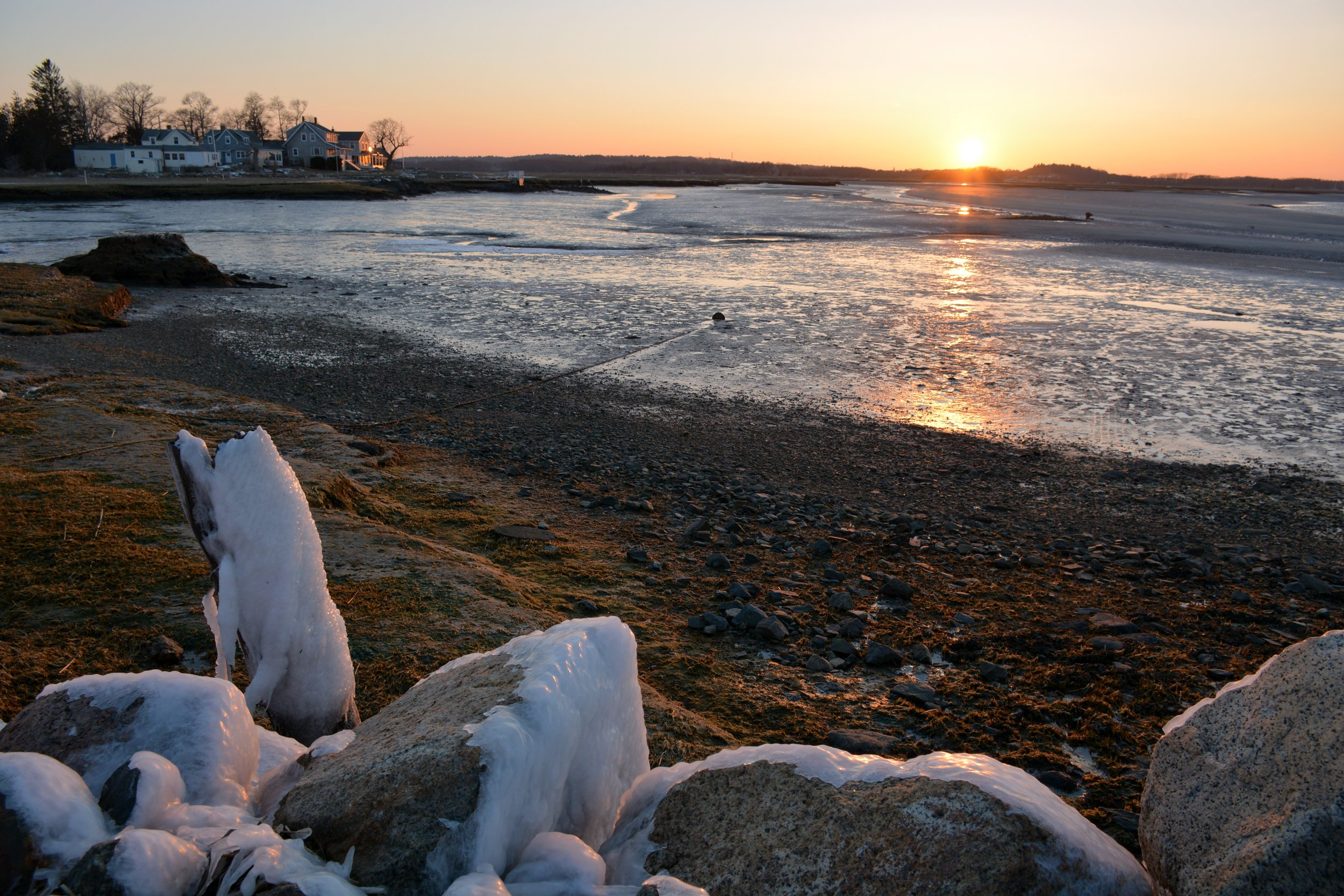 Ice deposits on seaside rocks, overlooking Robbins Island.