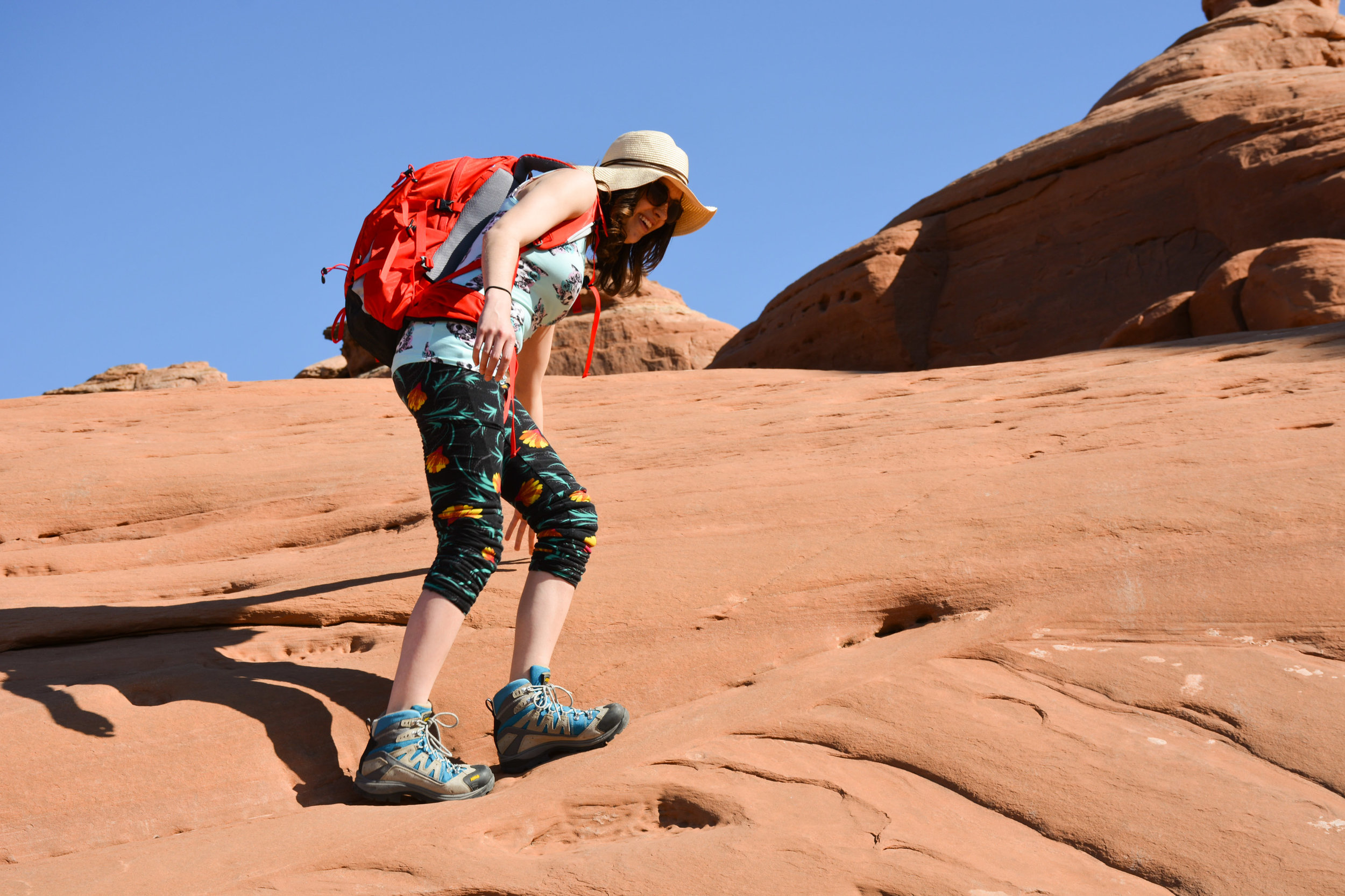 Natalie Hiking to the Delicate Arch in Moab, UT