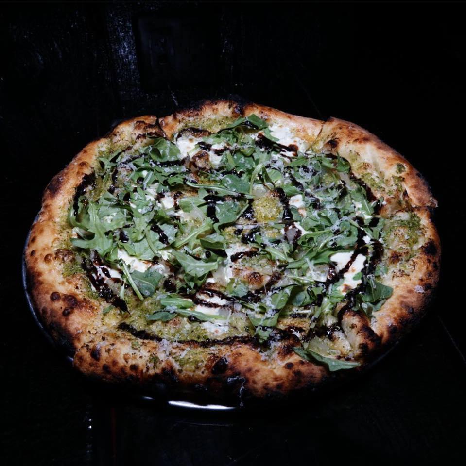 debbie's veggies - broccoli pesto with goat cheese, caramelized onions, arugula and balsamic glaze