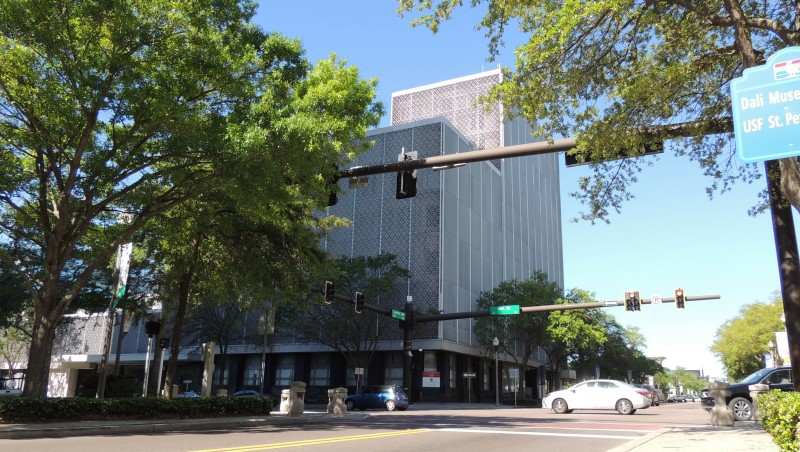 """The """"cheese grater"""" building at 400 Central Ave as it currently stands."""