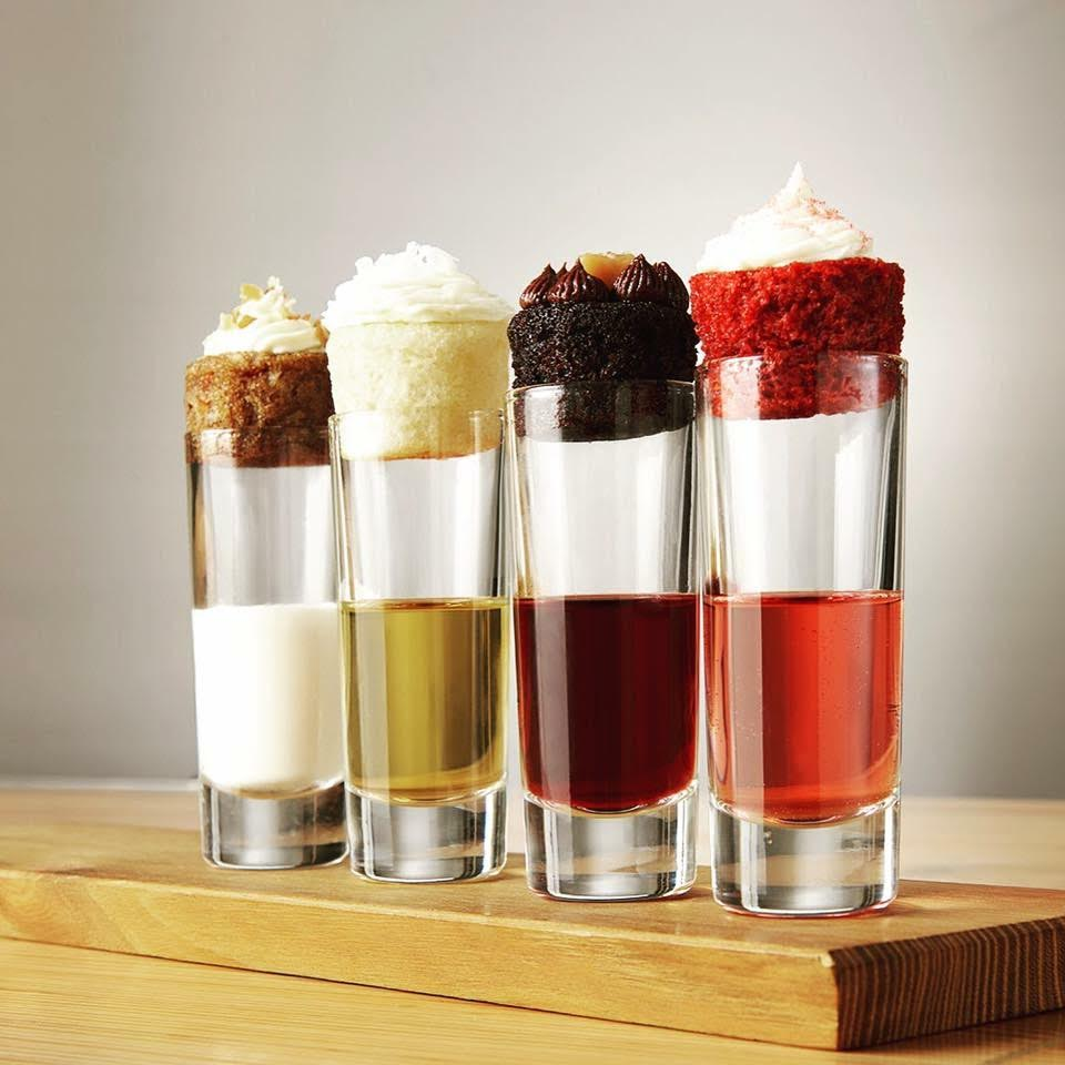 """Mini Hook-up"", a Mini cupcake paired with a ""shot"" of beer, wine, milk, coffee, or another beverage."