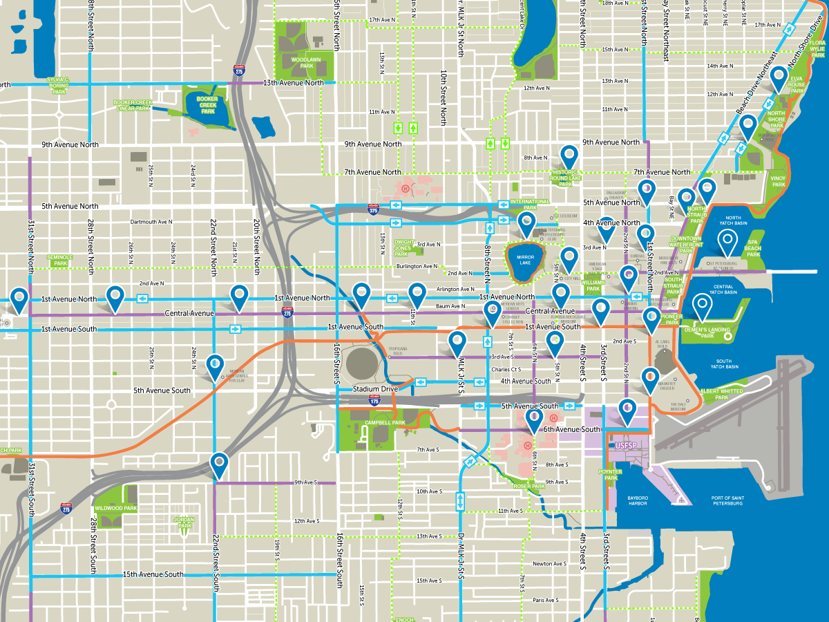 A map of Coast's St. Pete bike share system