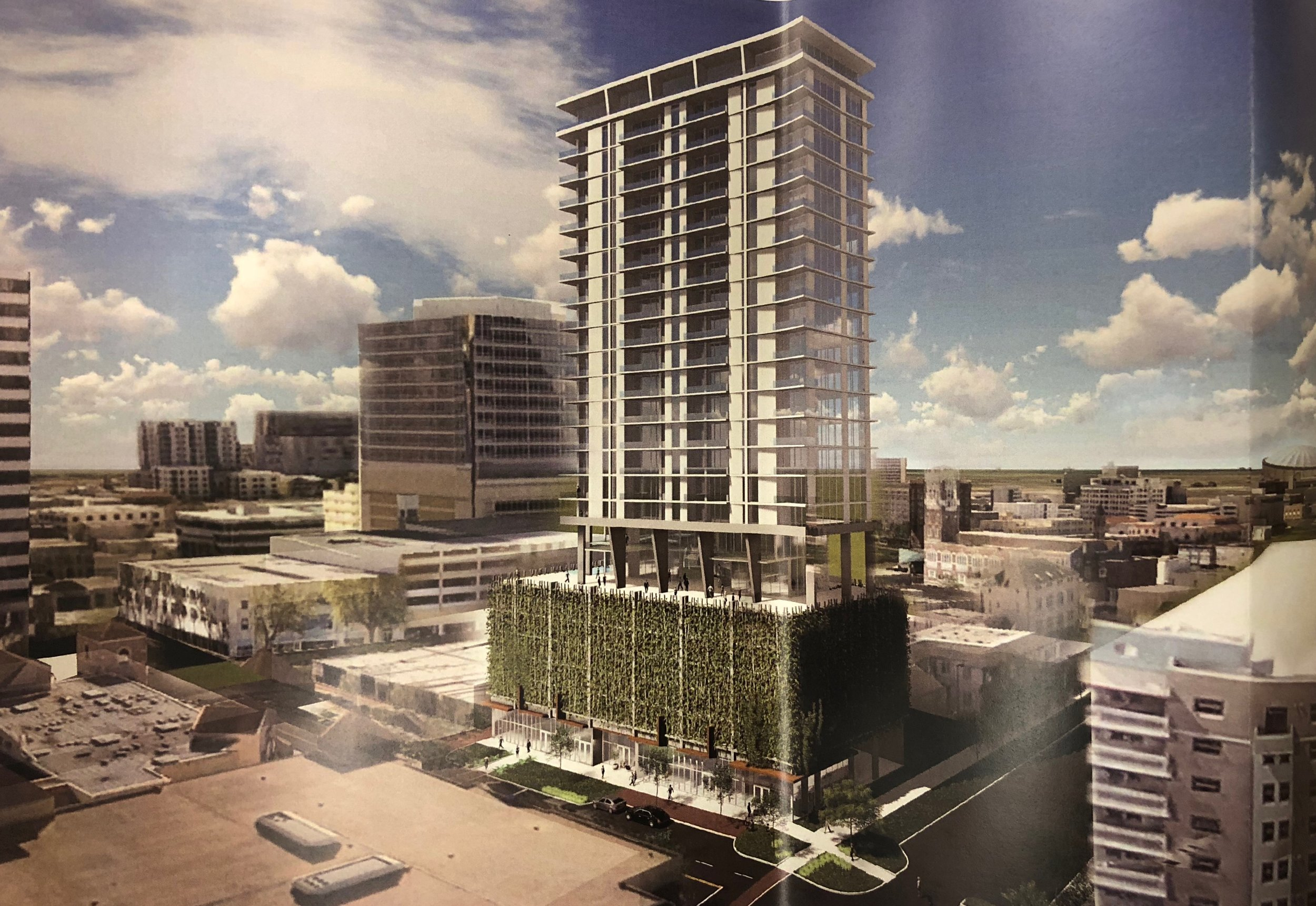 artistic rendering of new 25-story residential tower in downtown st pete