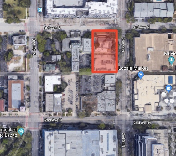 The proposed residential tower will be located at the southwest corner of 3rd Ave N & 2nd St N.