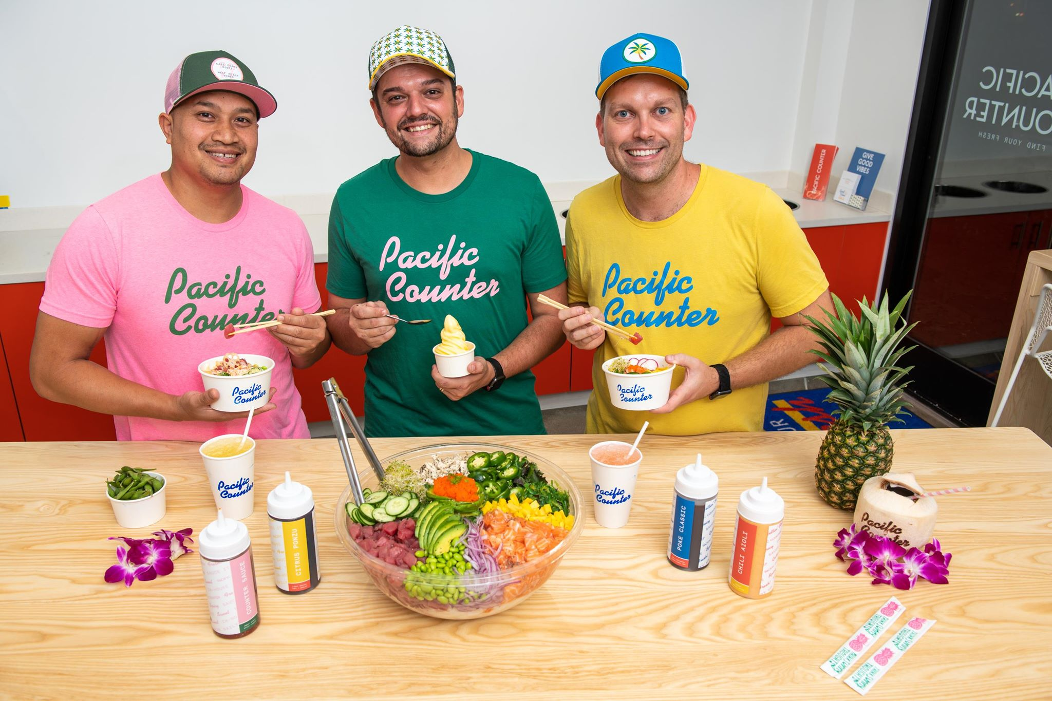 Owners of Pacific Counter - Chef Tock (left), Eric Bialik (middle), and Tanner Loebel (RIght)