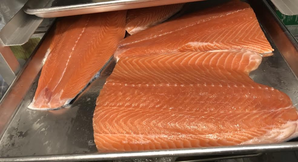 Skuna Bay Salmon after being filleted by Chef Tock