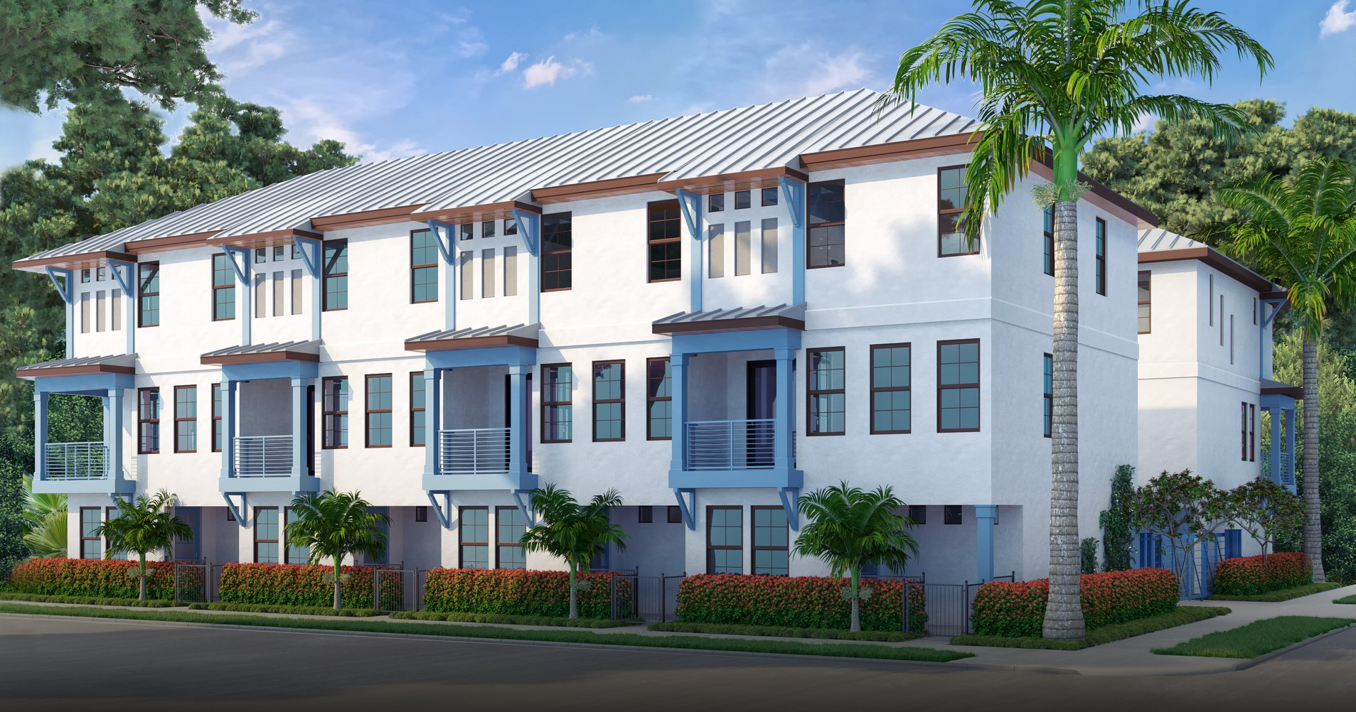 An exterior rendering of the Saint James Townhomes