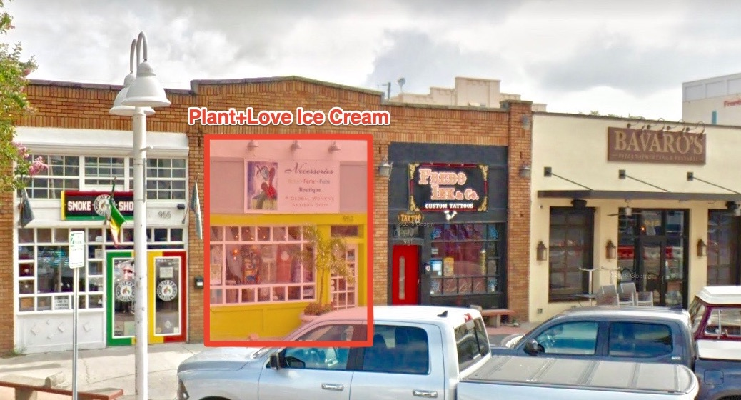 Plant+Love ice cream is located at 953 Central Avenue, formerly a women's boutique, Necessories.