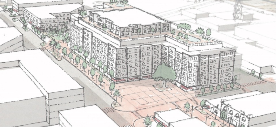 The chosen proposal could include a mix of retail, office, housing, civic/park space, and possibly a hotel. This conceptual vision for the site was included in the EDGE District Master Plan.