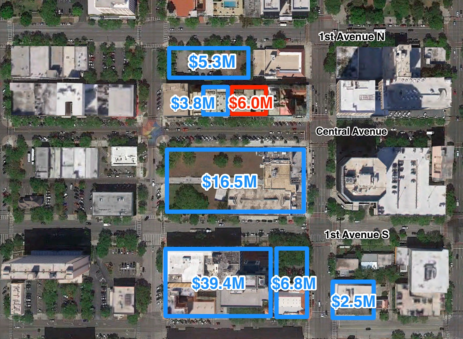 The 400 block of Central Avenue and the surrounding area has seen increased investment activity in recent years. The McCrory building at 433 Central is outlined in red with nearby sales that have occurred within the last three years.