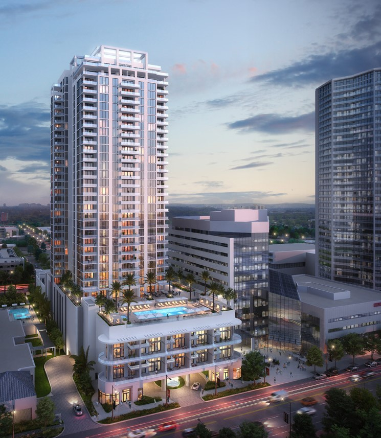 An updated rendering of Saltaire, a proposed 35-story condominium tower in Downtown St Pete, Florida
