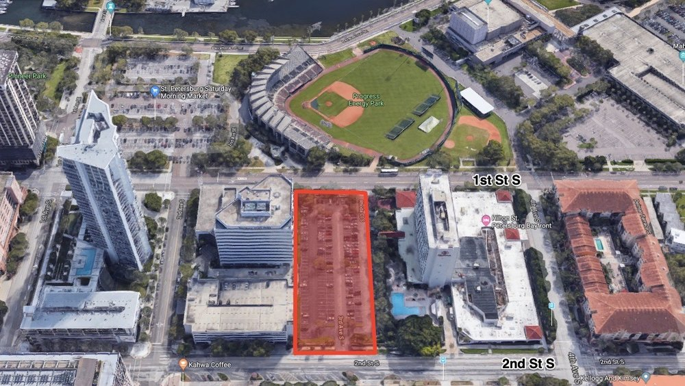 Saltaire is to be built at 300 1st Street South, on the current surface parking lot of the Hilton St. Petersburg Bayfront Hotel