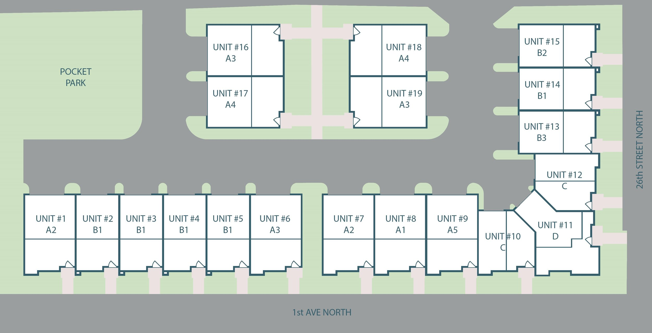 Most of the units will open up to 1st Avenue North or 26th Street, but four units will face an interior courtyard.