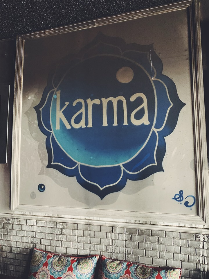 Damages to an original  Sebastian Coolidge  mural at Karma Juice Bar & Eatery in Downtown St. Petersburg, FL