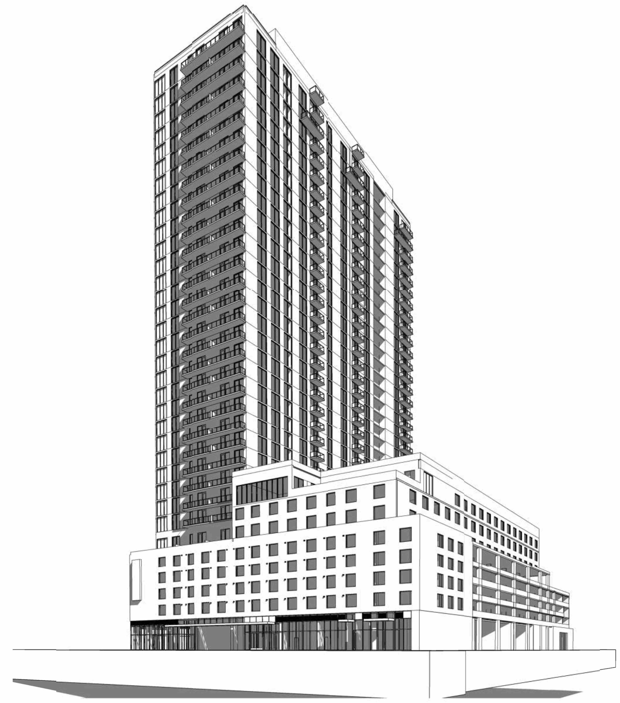 Greystar Real Estate Partners have proposed a 36-story mixed-use development at 225 1st Ave N.