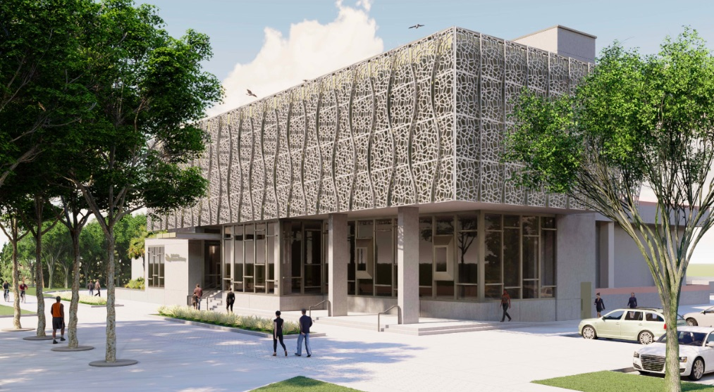 Rendering of the entrance to the St petersburg Museum of History expansion at 335 2nd Ave NE in downtown St Pete. Rendering from arc3 arcHitecTure.