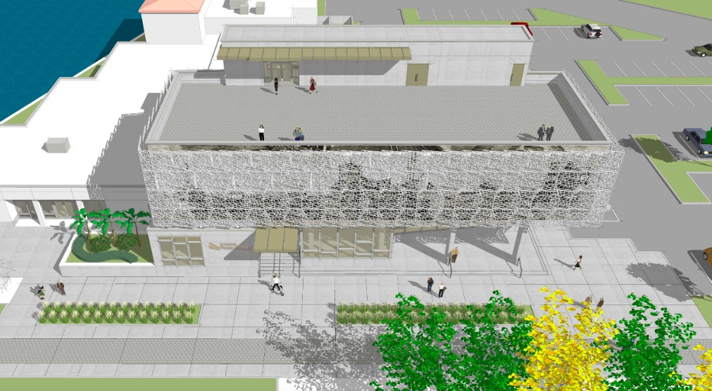 A view of the roof terrace on the expansion of the St Petersburg Museum of History in Downtown ST Pete. Rendering from Arc3 architecture.