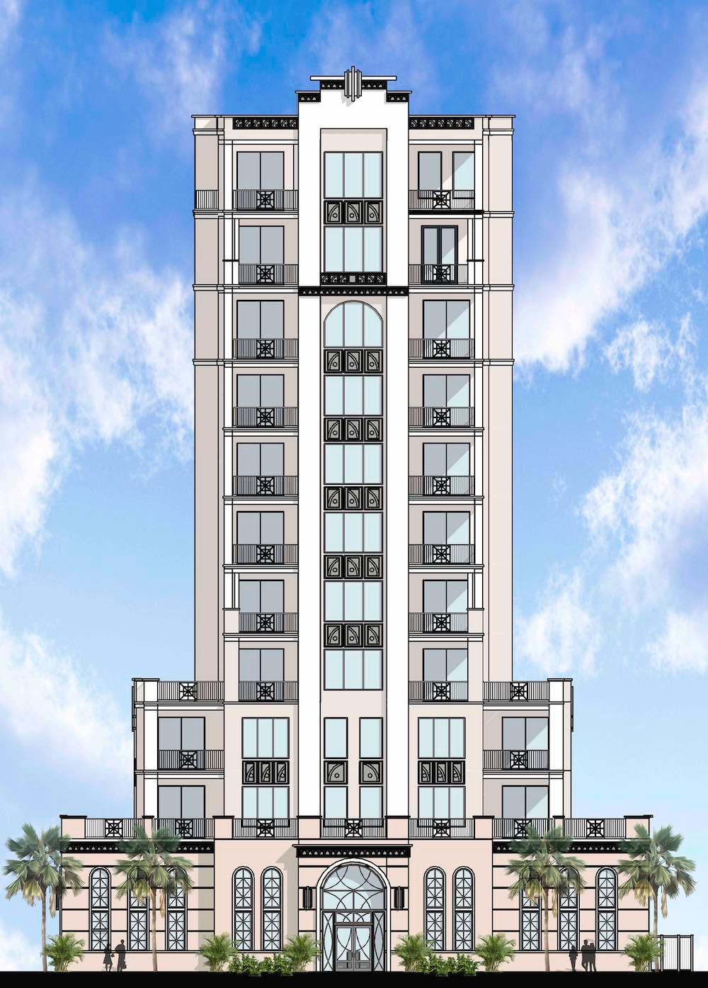 An elevation of The Perry, a 12-story 20-unit condo tower proposed for 136 4th Ave NE in Downtown St Petersburg, FL