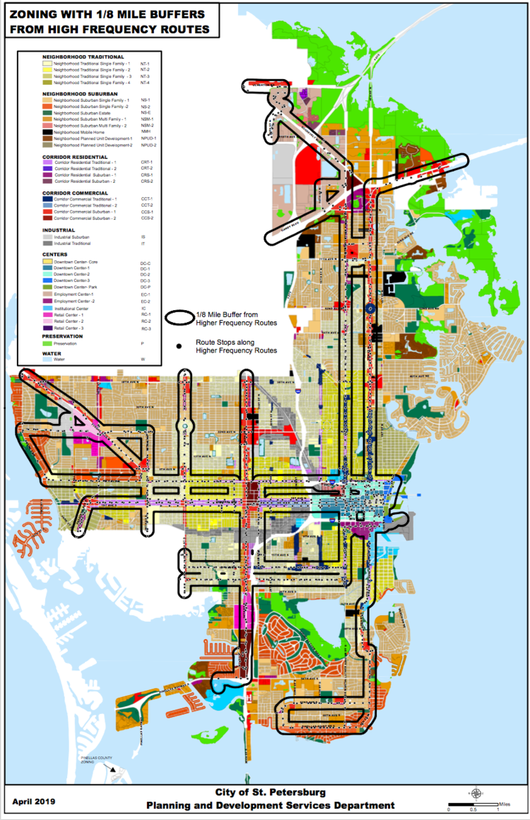 Multifamily properties within 1/8th mile of high frequency transit routes are eligible for a 10% reduction in parking requirements. These high frequency routes are outlined in black in the above map.